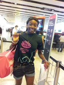 Jemima on her way to Guangzhou to be a JC 2013